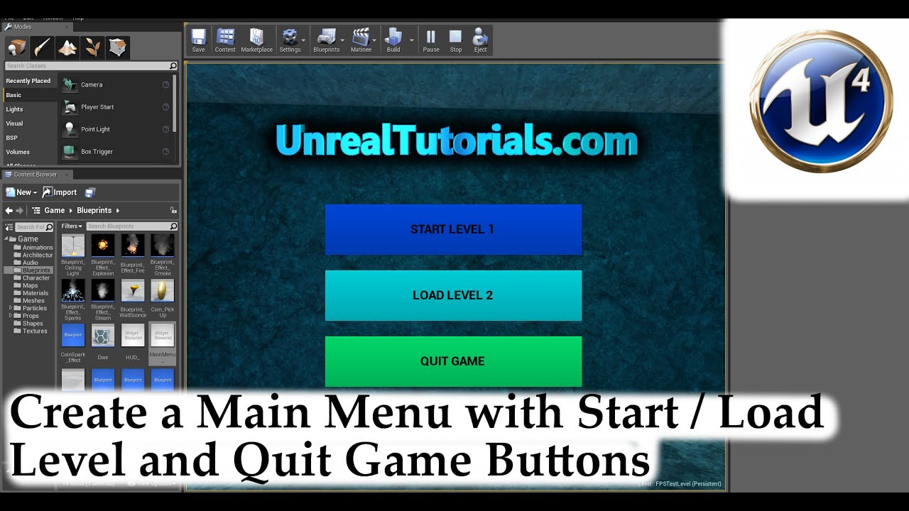 Unreal engine 4 tutorial main menu with start load level unreal engine 4 tutorial main menu with start load level exit game youtube malvernweather Gallery