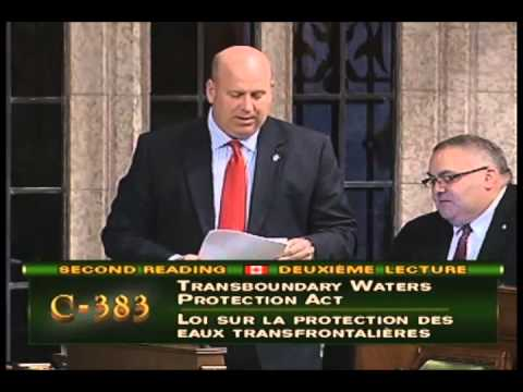 MP Dean Allison speaks about Bill C383: Transboundary Water Protection Act (10/01/2012)
