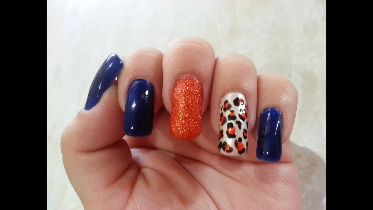 Blue and Orange Animal Print Nail Art - YouTube