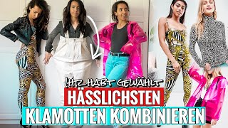 Ihr habt die HÄSSLICHSTEN KLAMOTTEN ausgesucht   8 Outfits   Online Live Haul Challenge