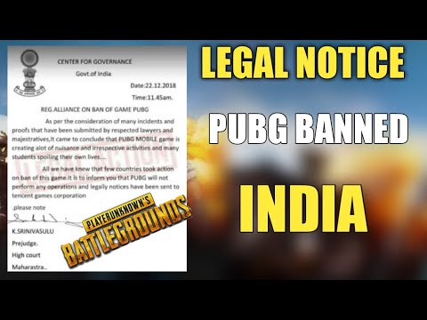 Pubg Mobile Ban In India ? Legal Notice Pubg Banned Confirm India ?