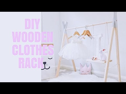 DIY CUTE BABY GIRL WOODEN CLOTHING RACK WITH SWING SHELVES | BABY GIRL NURSERY DECOR