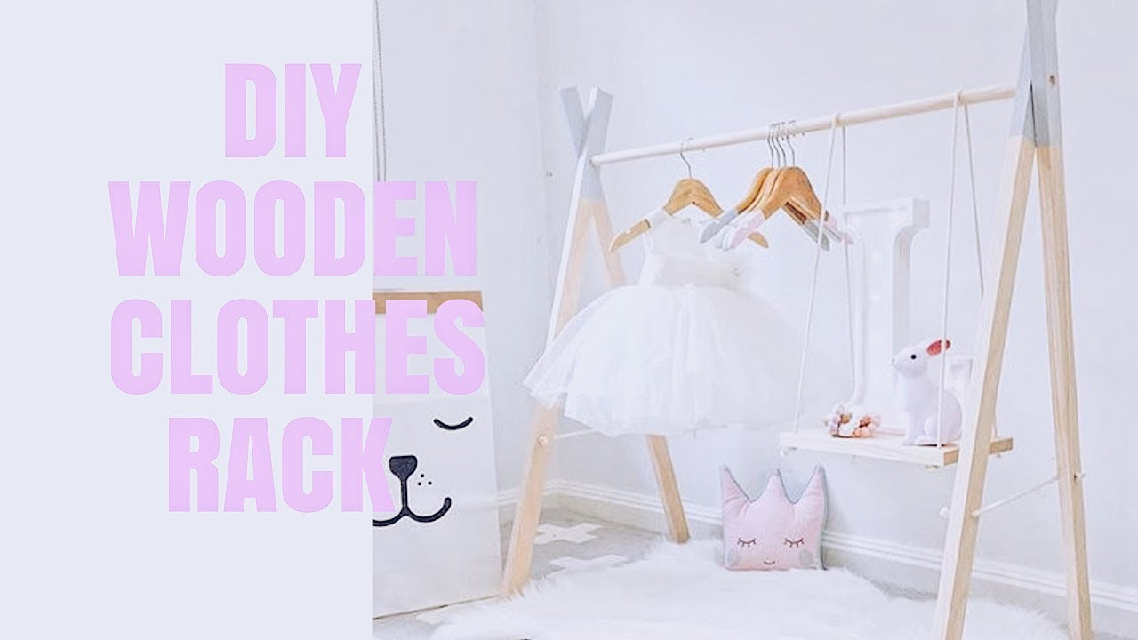 Diy Cute Baby Wooden Clothes Rack With Swing Shelves Nursery Decor