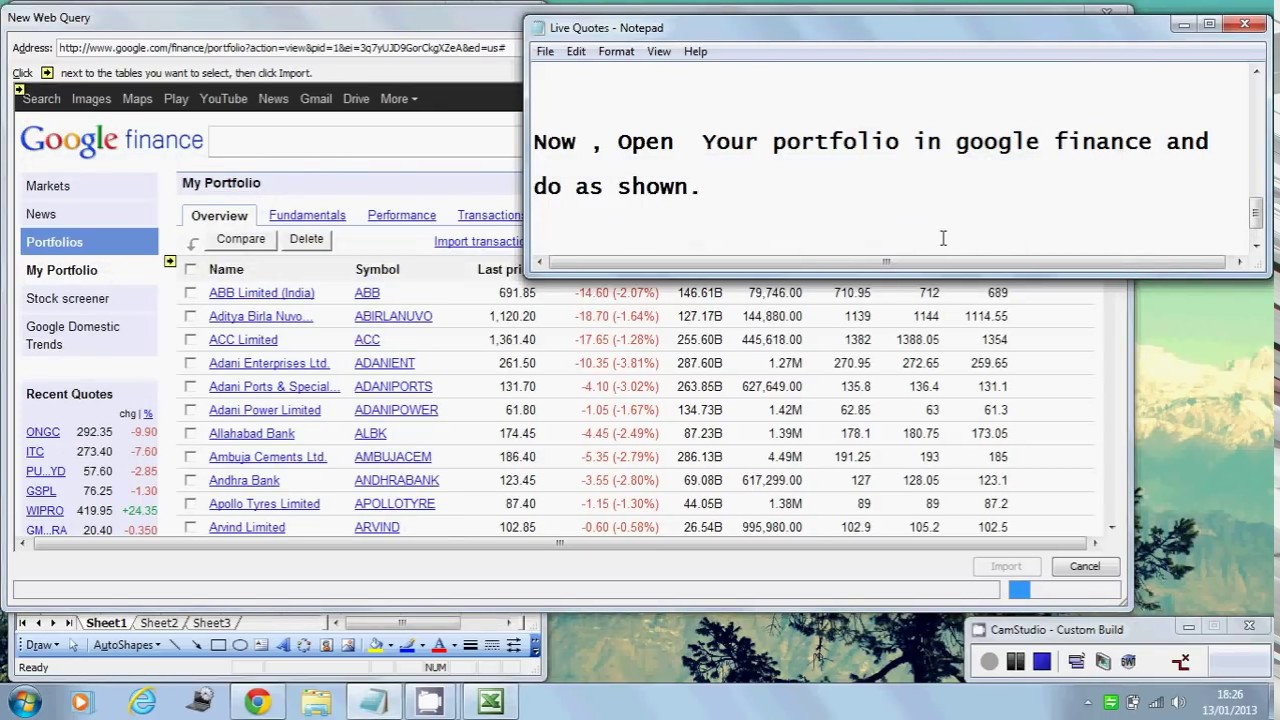 Google Stock Quote Fetch Realtime Quotes To Excel.avi  Youtube