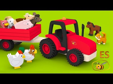 Los animales de granja y sus sonidos. Caricaturas educativas para niños en español. Learn Spanish