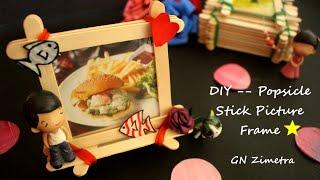 DIY| No-Glue Popsicle sticks Picture frame 100% reusable @GN Zimetra