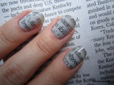 Newspaper print nail art tutorial youtube newspaper print nail art tutorial prinsesfo Choice Image