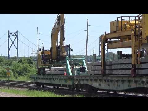 Union Pacific Concrete Tie Train Unloading Ties in