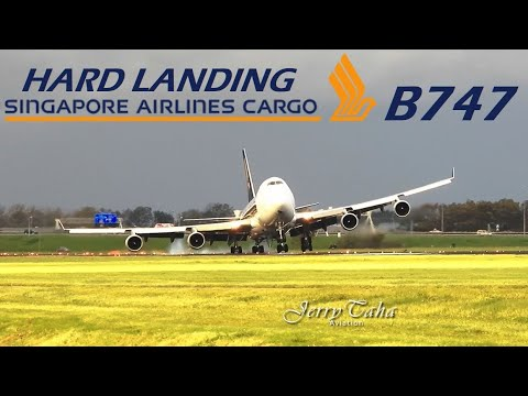 🔵Hard Landing B747 Singapore Airlines Cargo During Storm At AMS