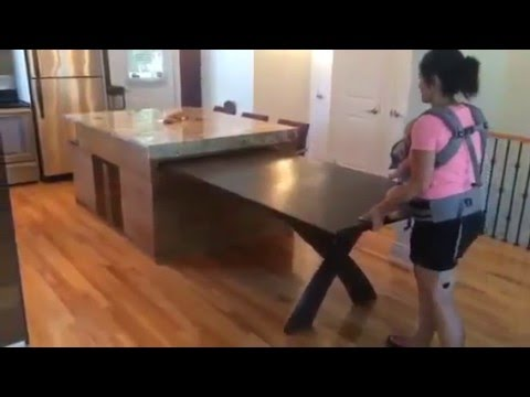 Ilot de cuisine table coulissante action de retour youtube - Ilot central table escamotable ...