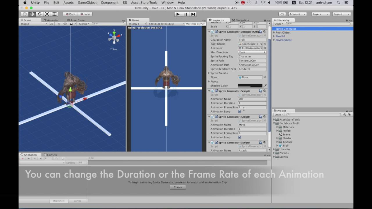 SS2d - Tutorial 5: Generating Animation Clips ( Unity Sprite generator &  RTS system )