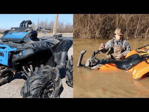 Honda Rancher In DEEP! Honda Ranchers and Polaris Sportsmans Take on FLOODED Trail