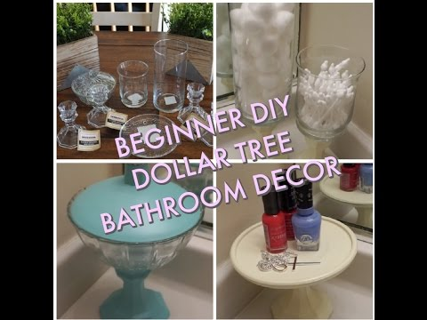 Beginner diy dollar tree bathroom decor youtube for Bathroom decor dollar tree