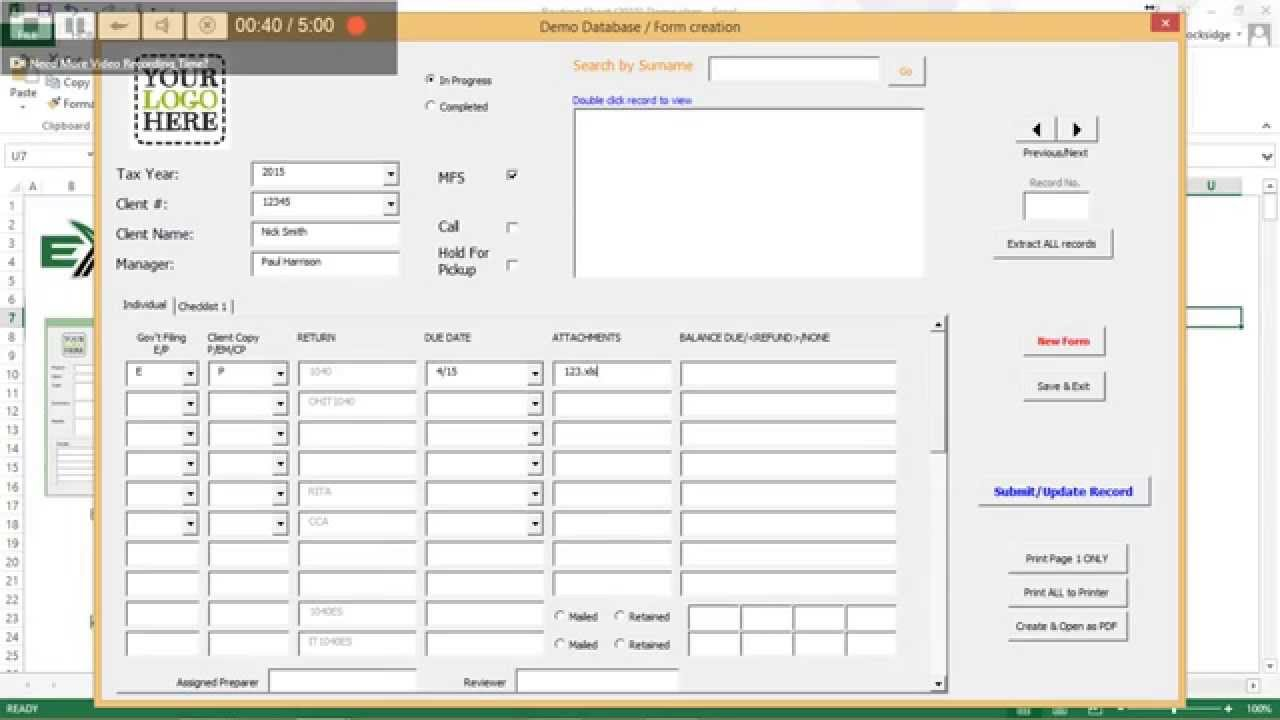 excel checklist form demo youtube