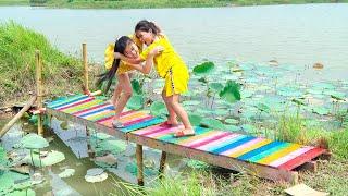 Làm Chiếc Cầu Bảy Sắc Cầu Vồng ❤ Dựng Cầu Gỗ Giúp Đỡ Người Dân Nghèo - Trang Vlog