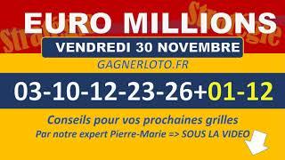 EUROMILLIONS NUMEROS GAGNANTS TIRAGE VENDREDI 30 NOVEMBRE