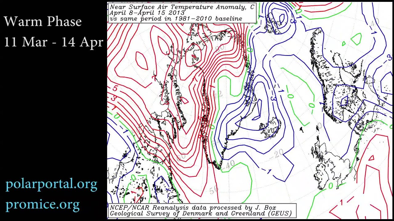 Greenland and North Atlantic Temperature Anomalies Jan-June 2013