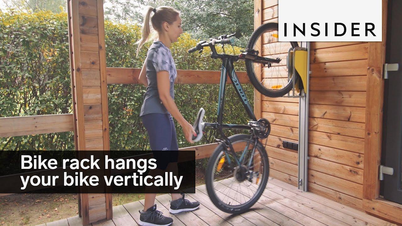 this bike rack hangs your bike vertically