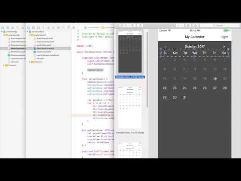 Create a calendar for iOS in Swift 4 and Xcode 9