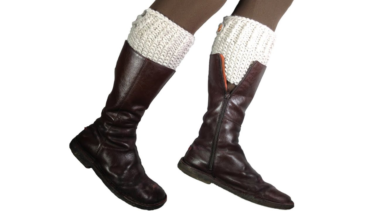 How To Loom Knit Boot Cuffs Diy Tutorial Youtube