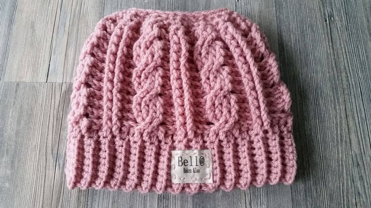 Crocheted Cabled Messy Bun Hat - YouTube fb248fb2377d