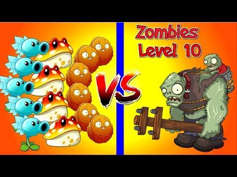Zombies Level 10 vs Plants Level 1 in Plants vs Zombies 2 NEW!