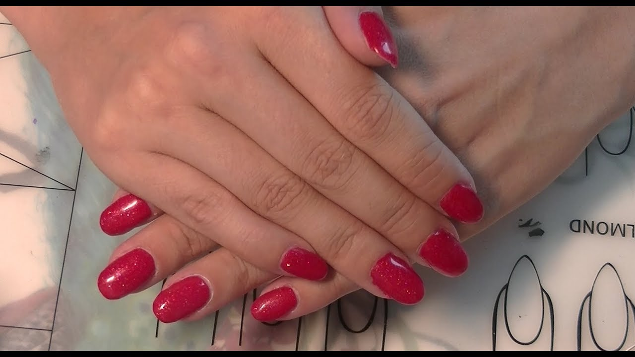 Easy Short Red Gel Nails Youtube