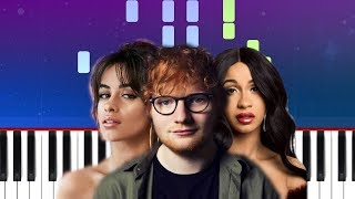 Ed Sheeran - South of the Border ft Camila Cabello & Cardi B (Piano Tutorial)