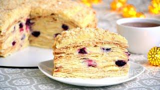 Самый вкусный рецепт торта Наполеон | Торт с вишней и заварным кремом