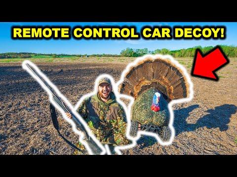 REMOTE CONTROL CAR Turkey Hunting Decoy CHALLENGE!!! (Turkey Fights Decoy!)