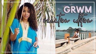 GRWM REALISTIC Vacay Beauty Routine on the BEACH!