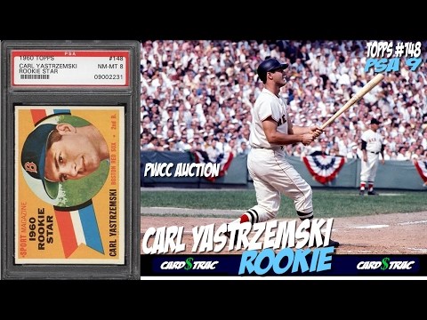 Sold. 1960 Carl Yastrzemski Topps #148 Rookie cards for sale @ PWCC Premier Auctions ; graded PSA 8.