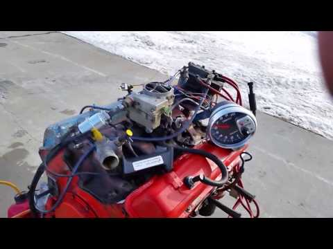 Redneck 4 cylinder SBC 1/2 engine open headers twin turbo blown up 350 chevy