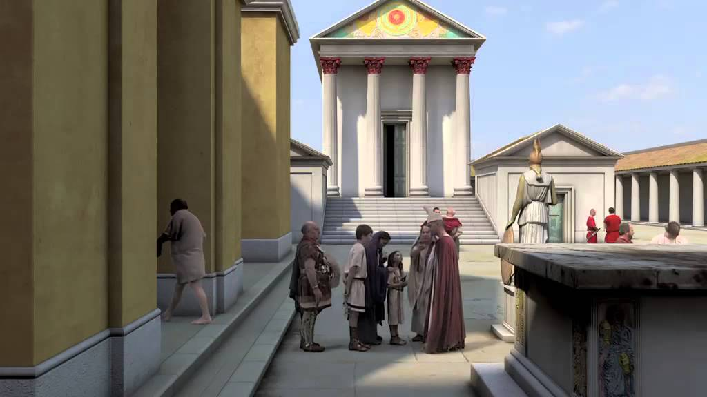 Computer reconstruction of roman baths temple courtyard youtube - Image of bath room ...