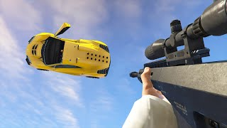 SNIPE FLYING CARS! (GTA 5 Funny Moments)