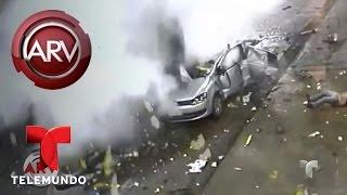 Auto explota en gasolinera en Brasil | Al Rojo Vivo | Telemundo