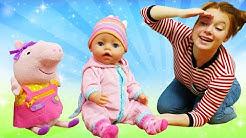 Puppen Video für Kinder. Baby Born, Peppa Wutz und Irene spielen Verstecken
