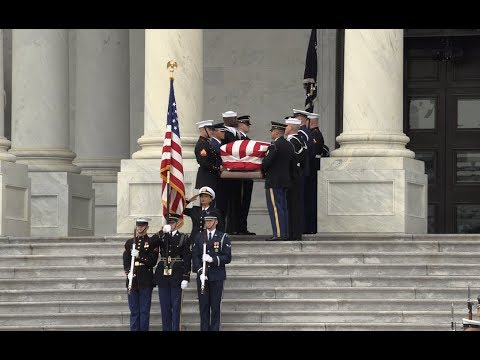 Casket of George H.W. Bush departs U.S. Capitol for State Funeral - 4K Ultra HD
