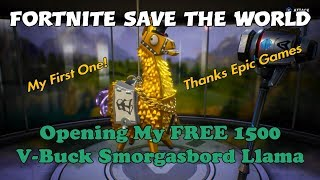 34a) Fortnite Save The World Opening My FREE 1500 V-Buck Smorgasbord Llama. Thanks Epic Games.