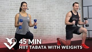 45 Minute HIIT Tabata Workout with Weights - HIIT Workouts for Weight Loss & Strength at Home