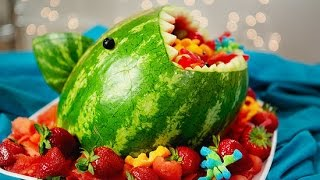 How to Make a Watermelon Shark Fruit Salad!