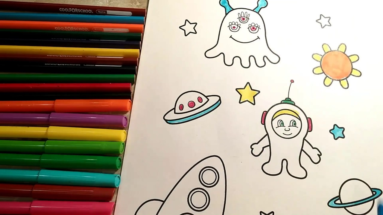 coloring for kids planet astronauts aliens white yellow lime blue