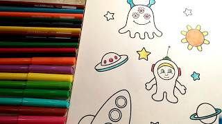 coloring for KIDS Planet Astronauts Aliens white yellow lime blue coloring pages for little boys