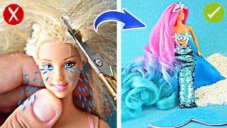 AMAZING MERMAID and HAIRSTYLE ~ DIY Barbie Hacks; Long Hair Rainbow, Mermaid tail and MORE !!