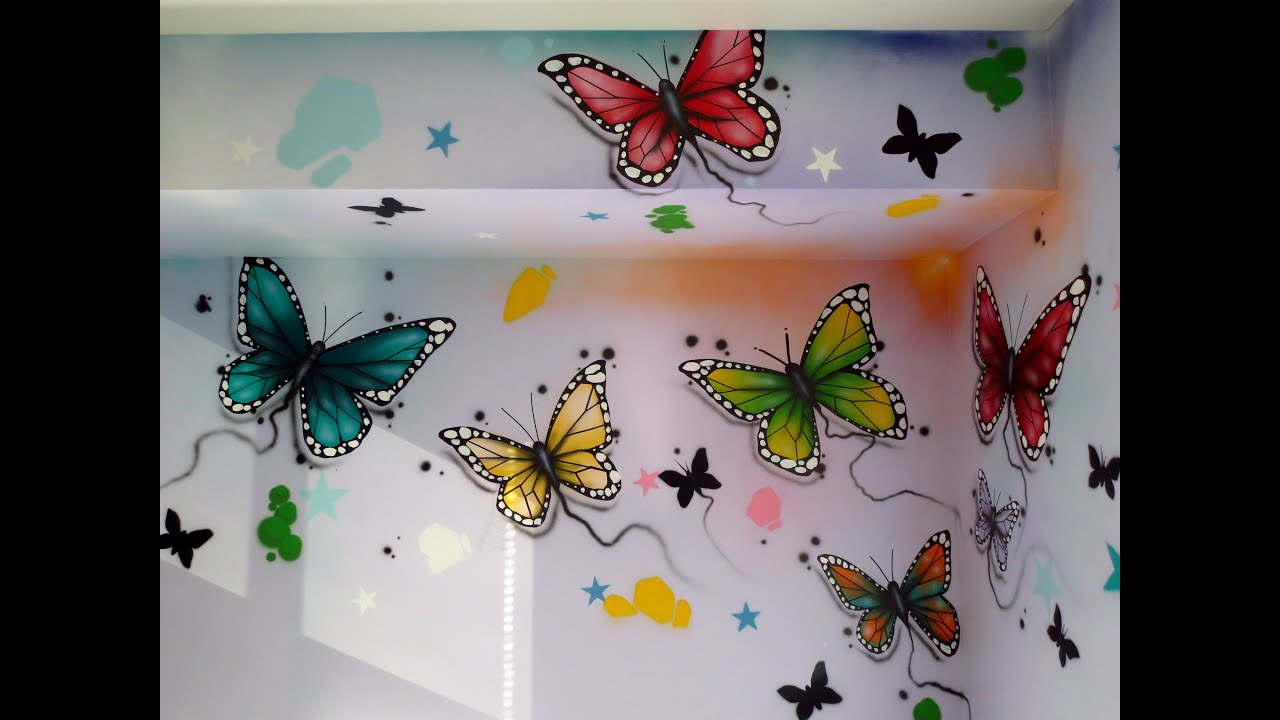 Butterfly Mural In Kids Room - YouTube