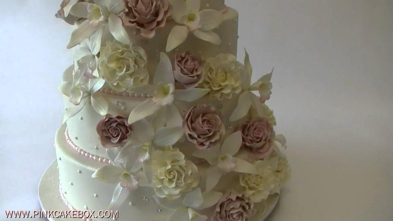 Cascading Roses Amp Orchids Wedding Cake YouTube