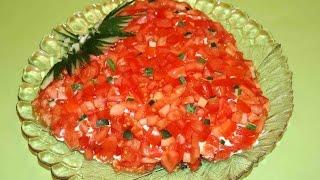 Салаты на праздничный стол. Салат Клубничка. Простой салат на праздничный стол.