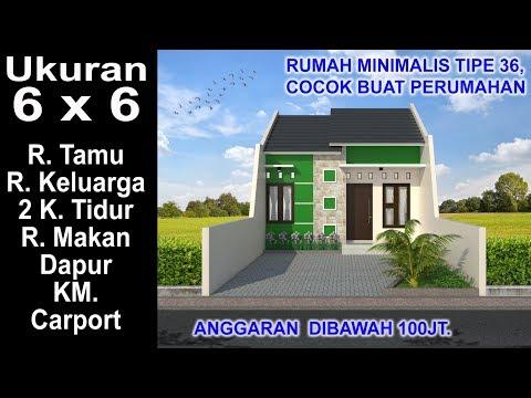 Rumah Minimalis 2 Lantai Ukuran 6x6  modern house 6x6 2 k tidur desain rumah minimalis tipe 36