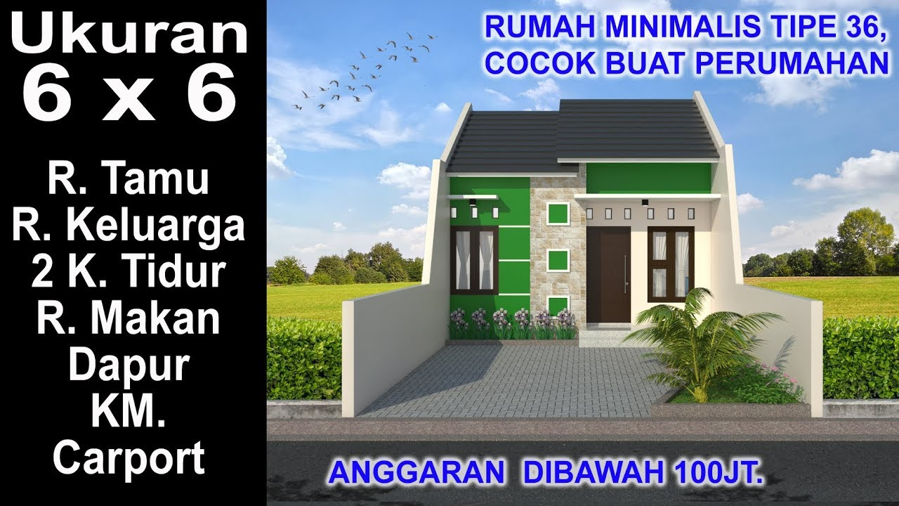 Modern House 6x6 2 K Tidur Desain Rumah Minimalis Tipe 36 Youtube