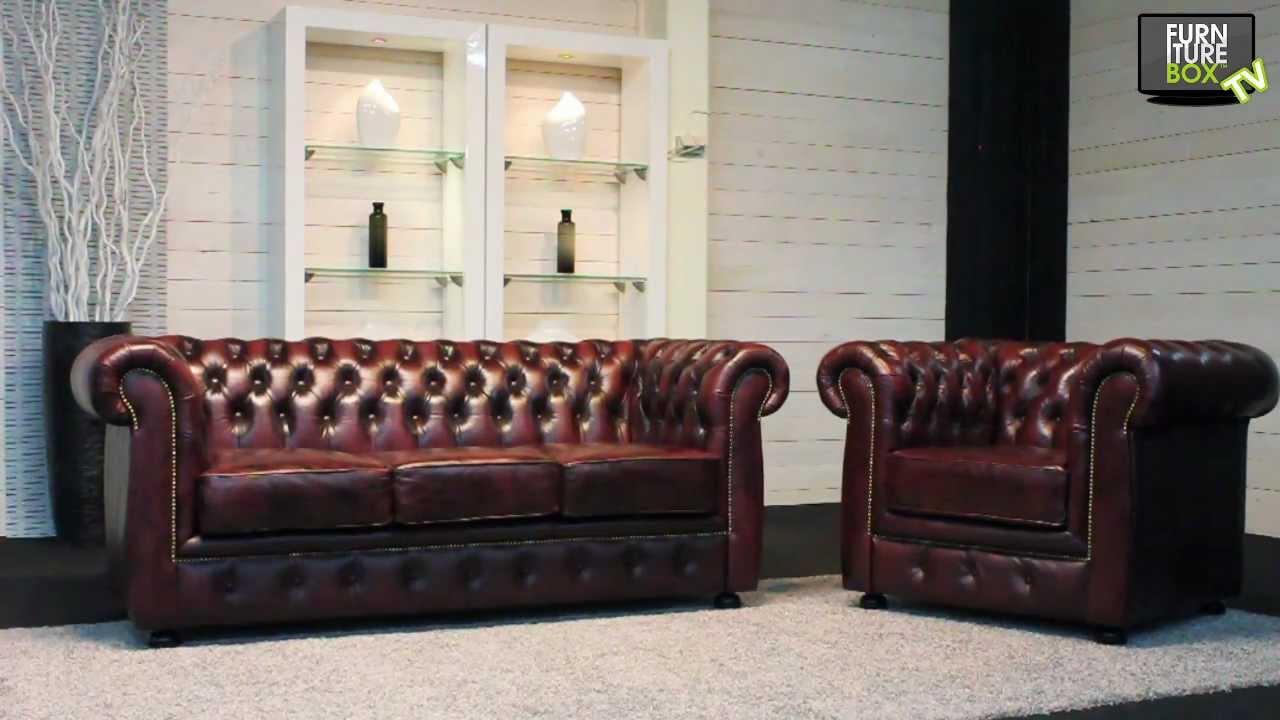 CHESTERFIELD Soffa Oxblod och fåtölj Furniturebox YouTube